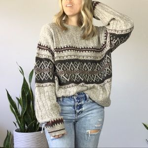 Oatmeal Oversized fair isle knit grandpa sweater L